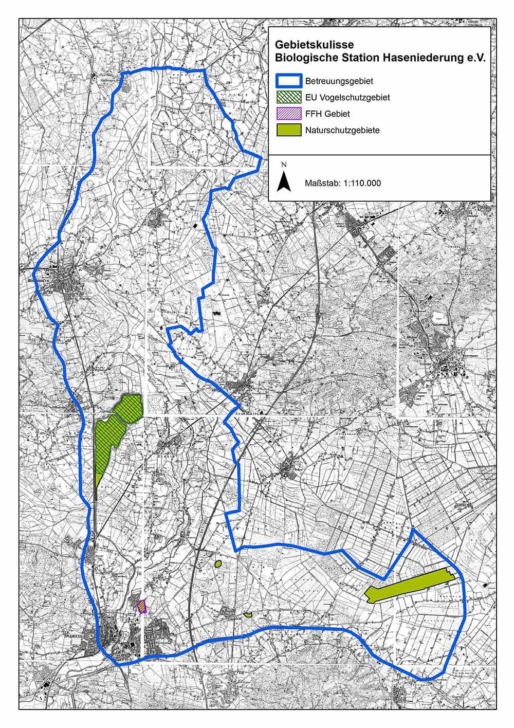 Landkarte mit markiertem Gebiet